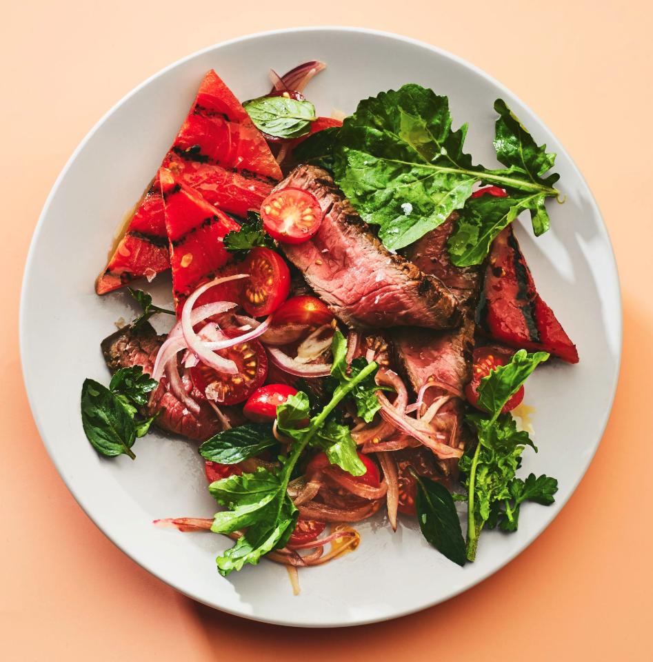 grilled watermelon steak salad