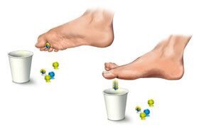 Picking up marbles with your toes